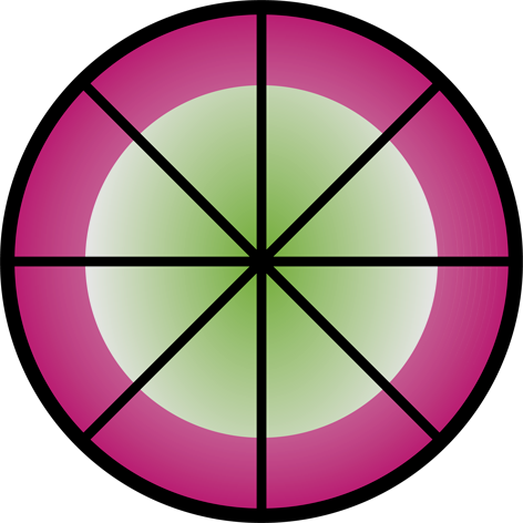 Life wheel symbol for the Life Coaching work